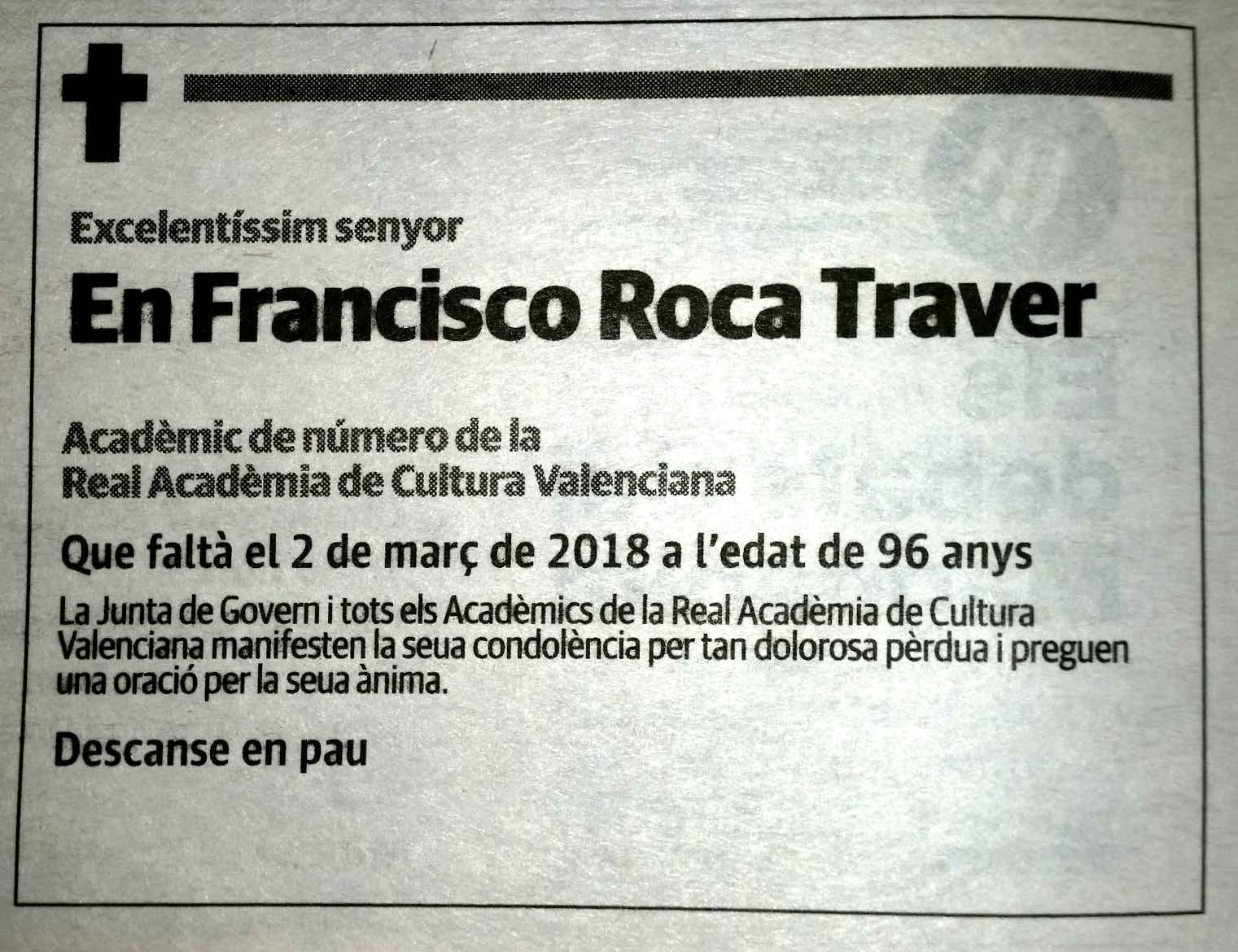 Ha mort l'Acadèmic de Número Francisco A. Roca Traver