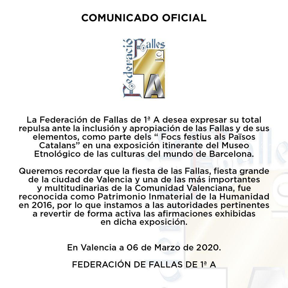 Comunicat Federació de Falles 1ªA
